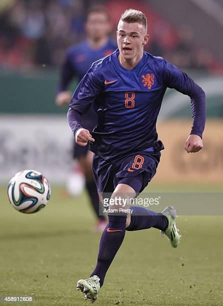 Daley Sinkgraven of the Netherlands in action during the U21 Germany v U21 Netherlands International Friendly match at Audi Sportpark on November 13...