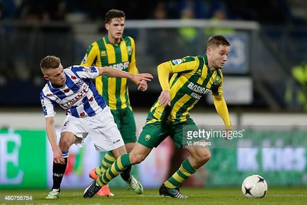 Daley Slinkgraven of sc Heerenveen Aaron Meijers of ADO Den Haag during the Dutch Eredivisie match between sc Heerenveen and ADO Den Haag at Abe...
