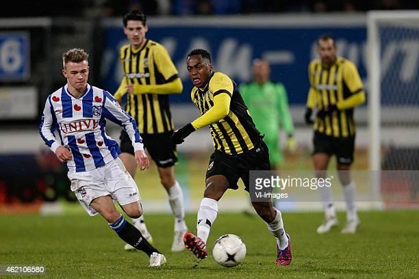 Daley Slinkgraven of sc Heerenveen Renato Ibarra of Vitesse during the Dutch Eredivisie match between SC Heerenveen and Vitesse at the Abe Lenstra...