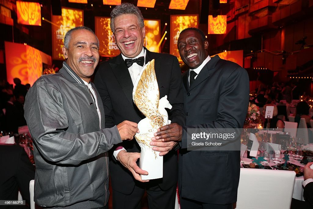 Daley Thompson, Juergen Hingsen with Meissen Pegasos Award and Linford Christie during the German Sports Media Ball ( 34. Sportpresseball ) at Alte Oper on November 7, 2015 in Frankfurt am Main, Germany.