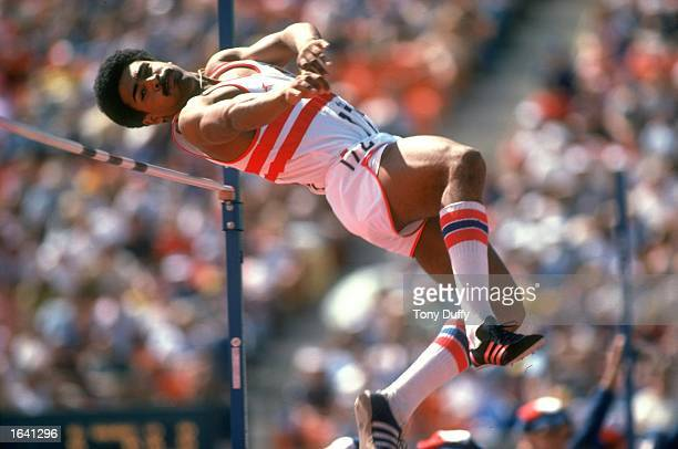 Daley Thompson of England during the High Jump in the Decathlon event at the Commonwealth Games in Edmonton Canada Mandatory Credit ALLSPORT /Allsport
