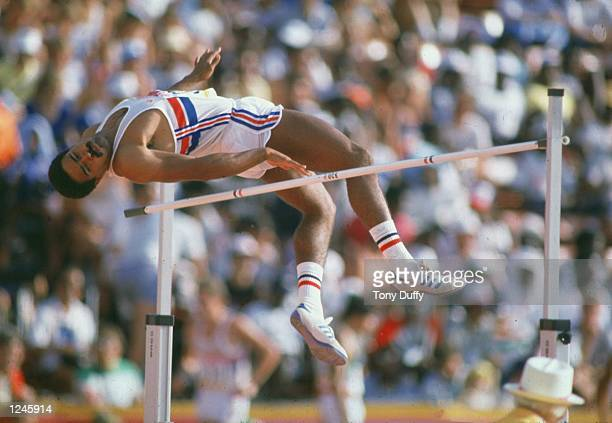 Daley Thompson of Great Britain clears the bar during the high jump event of the decathlon at the 1984 Olympic Games in Los Angeles Thompson won the...