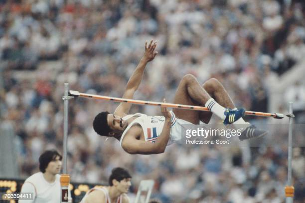 Daley Thompson of Great Britain competes in the high jump discipline on the first day of the decathlon competition at the 1980 Summer Olympics in the...