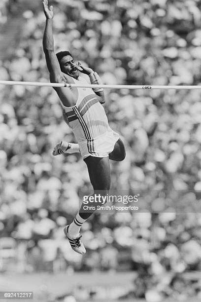 Daley Thompson of Great Britain competes in the pole vault discipline on the second day of the decathlon competition at the 1984 Summer Olympics in...