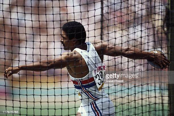 Daley Thompson of Great Britain during the Discus throw event of the Men's Decathlon on 9th August 1984 during the XXIII Olympic Games at the Los...