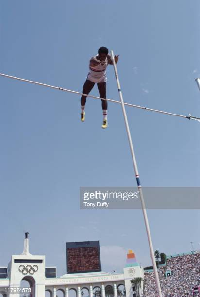 Daley Thompson of Great Britain during the Pole vault event of the Men's Decathlon on 9th August 1984 during the XXIII Olympic Games at the Los...