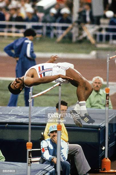 Daley Thompson of Great Britian competes in the Men's decathlon high jump event during the 1980 Moscow Summer Olympic games at the Lenin Stadium in...