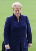 Dalia Grybauskaite President of Lithuania arrives for a reception at Buckingham Palace for Heads of State and Government attending the Olympics...