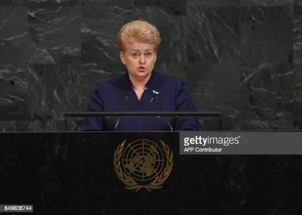 Dalia Grybauskaite President of the Republic of Lithuania addresses the 72nd session of the General Assembly at the United Nations in New York...