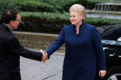 Dalia Grybauskaite President of the Republic of Lithuania arrives for the Informal Dinner of Heads of State or Government held at the Justus Lipsius...
