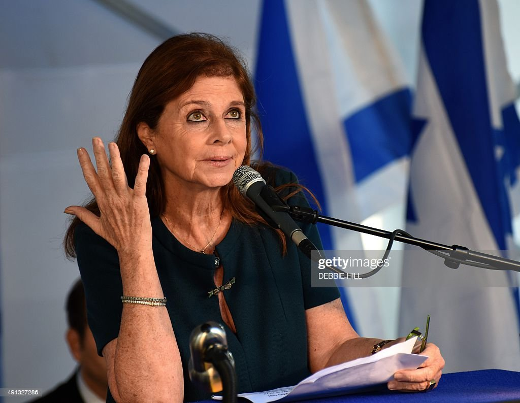 Dalia Rabin speaks at the official memorial ceremony marking the 20th anniversary of the assassination of her father, late Israeli prime minister Yitzhak Rabin in the Mt. Herzl Cemetery in Jerusalem, on October 26, 2015. Rabin was assassinated by an Israeli right-wing extremist who opposed his concessions for peace with the Palestinians. AFP PHOTO / POOL / DEBBIE HILL