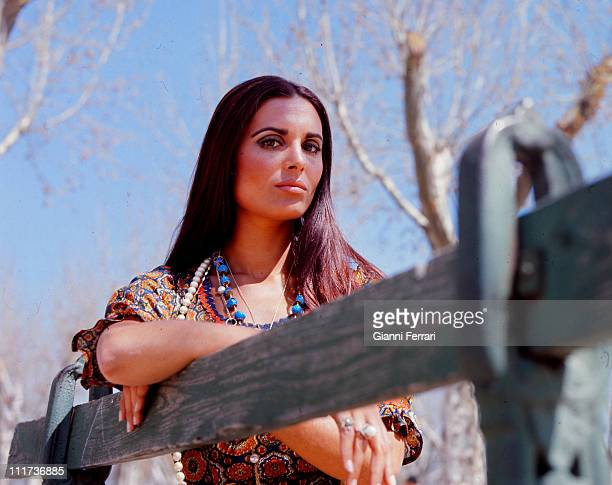 Daliah Lavi during a photo shoot in the 'Casa de Campo' Madrid Spain