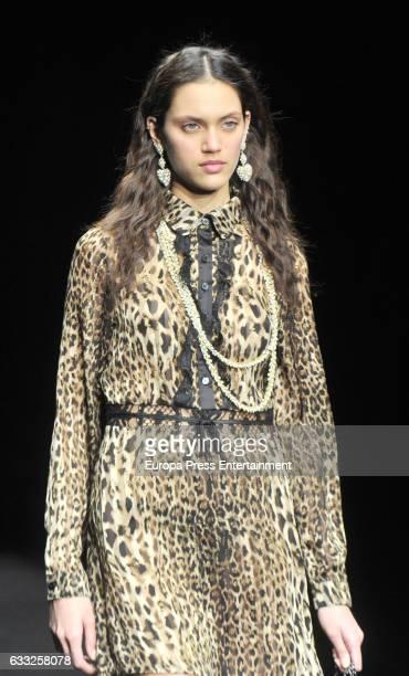 Dalianah Arekion walks the runway at the Lola Casademunt show during the Barcelona 080 Fashion Week Autumn/Winter 2017 on January 31 2017 in...