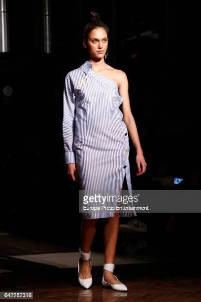 Dalianah Arekion walks the runway at the Roberto Verino show during the MercedesBenz Madrid Fashion Week Autumn/Winter 2017/2018 at Correos Palace on...