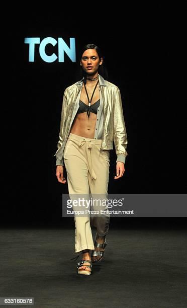 Dalianah Arekion walks the runway at the TCN show during the Barcelona 080 Fashion Week Autumn/Winter 2017 on January 30 2017 in Barcelona Spain