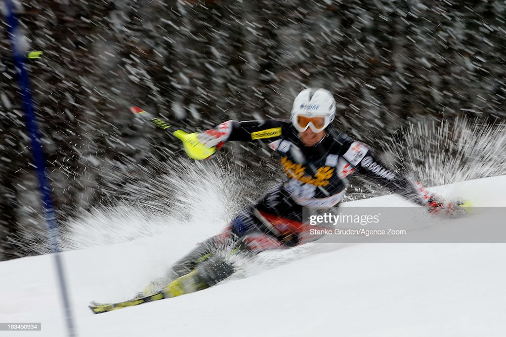 Dalibor Samsal of Croatia competes during the Audi FIS Alpine Ski World Cup Men's Slalom on March 10, 2013 in Kranjska Gora, Slovenia.