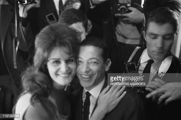 Dalida and Henri Salvador at backstage after Dalida's show at Olympia in December1961