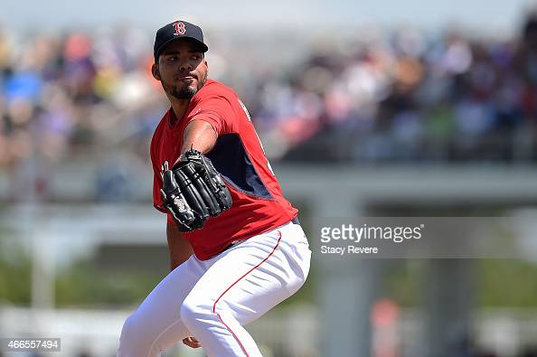 Dalier Hinojosa of the Boston Red Sox throws a pitch during a spring training game against the New York Mets at JetBlue Park at Fenway South on March...