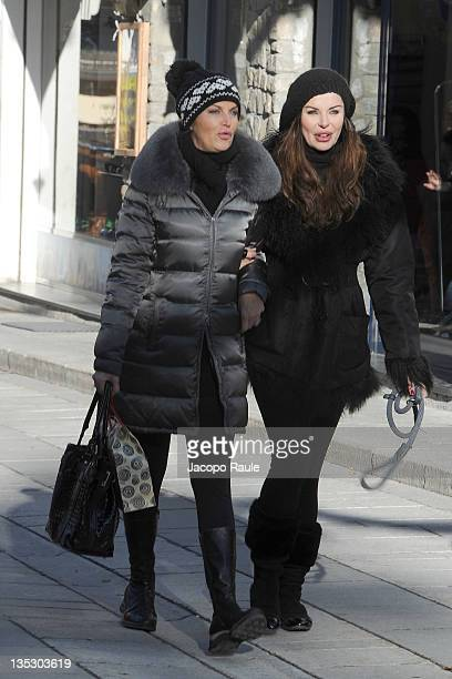Dalila Di Lazzaro and Alba Parietti are seen on December 8 2011 in Courmayeur Italy