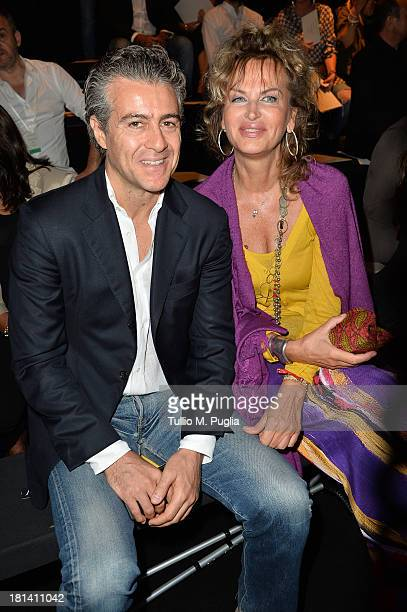 Dalila di Lazzaro and guest attend the Ermanno Scervino show as a part of Milan Fashion Week Womenswear Spring/Summer 2014 on September 20 2013 in...