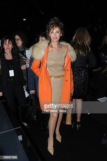 Dalila di Lazzaro attends the Ermanno Scervino Autumn/Winter 2012/2013 fashion show as part of Milan Womenswear Fashion Week on February 23 2012 in...