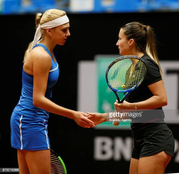 Dalila Jakupovic and Nadiia Kichenok in action against Nicole Melichar and Elise Mertens during the TEB BNP Paribas Istanbul Cup women's double...