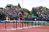 Dalilah Muhammad competes in the Women's 400 Meter Hurdles Final during the 2016 US Olympic Track Field Team Trials at Hayward Field on July 10 2016...