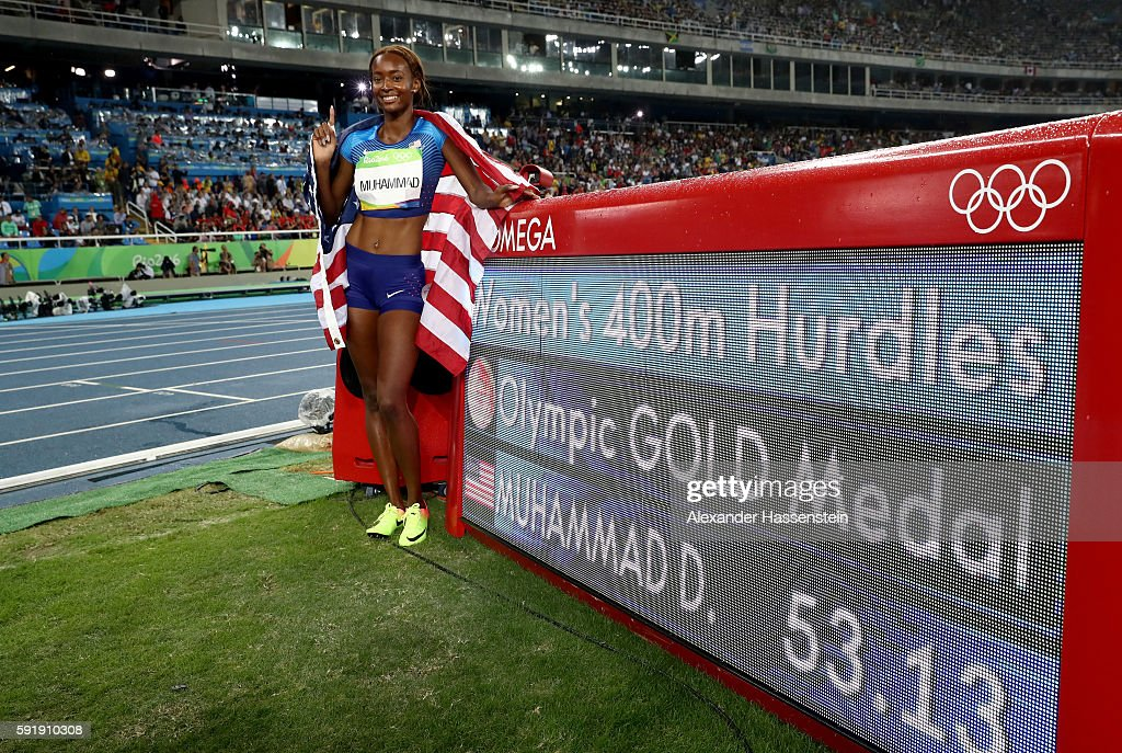 Dalilah Muhammad of the United States celebrates winning gold in the Women's 400m Hurdles Final on Day 13 of the Rio 2016 Olympic Games at the...