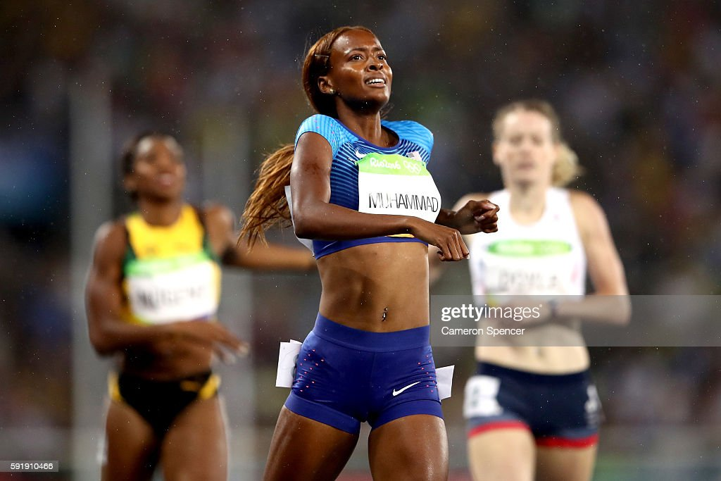 Dalilah Muhammad of the United States competes on her way to winning gold in the Women's 400m Hurdles Final on Day 13 of the Rio 2016 Olympic Games...