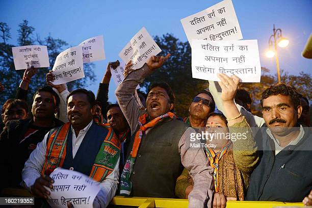 Dalit activists protest against Ashis Nandy controversial remarks at Jaipur Literature Festival in Jaipur on Saturday