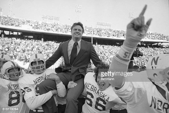 A happy Nebraska coach Tom Osborne is carried on the shoulders of Mike Offner and John Bell after the Cornhuskers defeated the Longhorns of Texas 193...