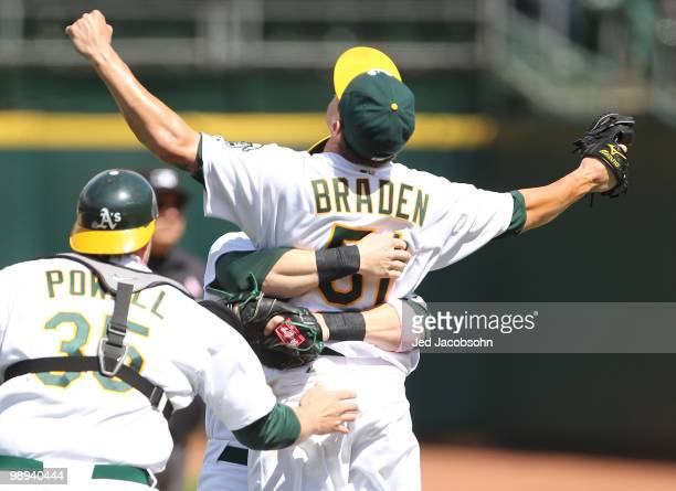 Dallas Braden of the Oakland Athletics celebrates after pitching a perfect game against the Tampa Bay Rays during an MLB game at the OaklandAlameda...