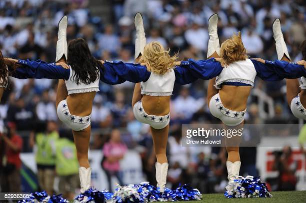 Dallas Cowboys cheerleaders dance during the game against the Philadelphia Eagles on September 15 2008 at Texas Stadium in Irving Texas The Cowboys...