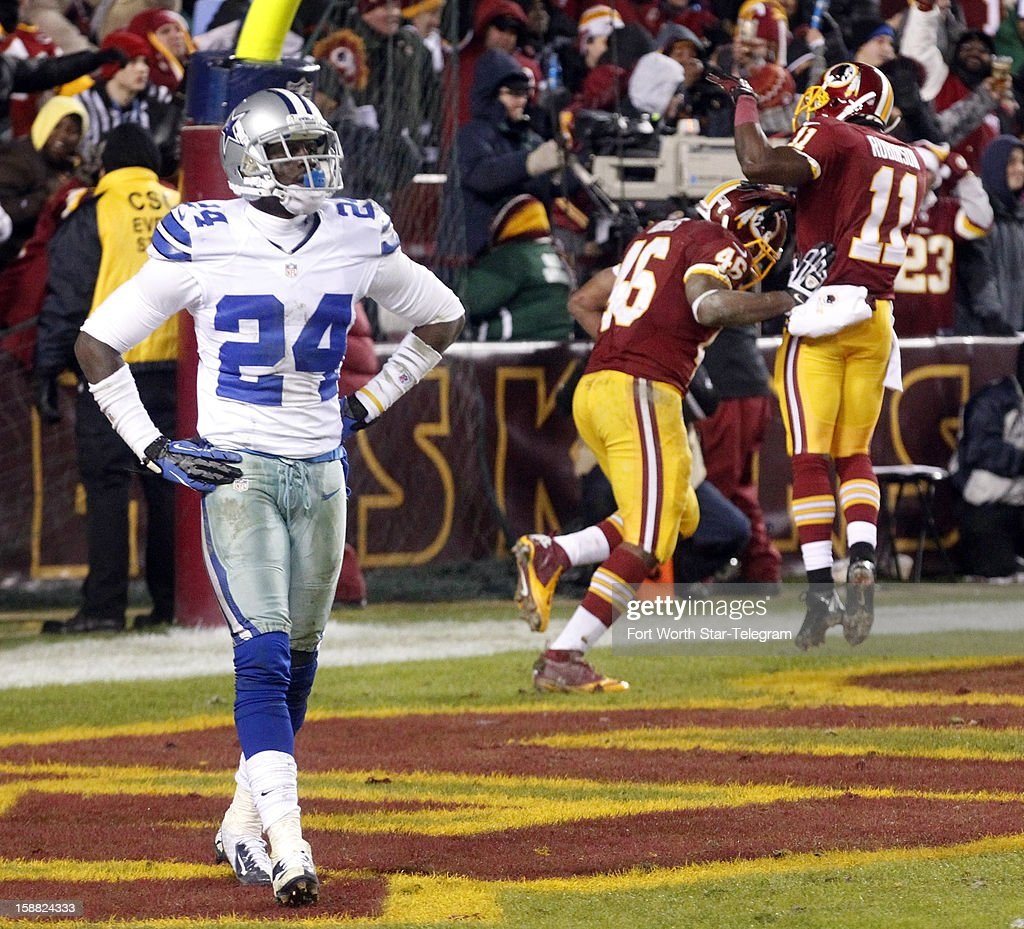 Dallas Cowboys cornerback Morris Claiborne (24) reacts after Washington Redskins running back Alfred Morris (46) scored a touchdown during the second half as the Washington Redskins beat the Dallas Cowboys 28-18, Sunday, December 30, 2012 in Landover, Maryland.