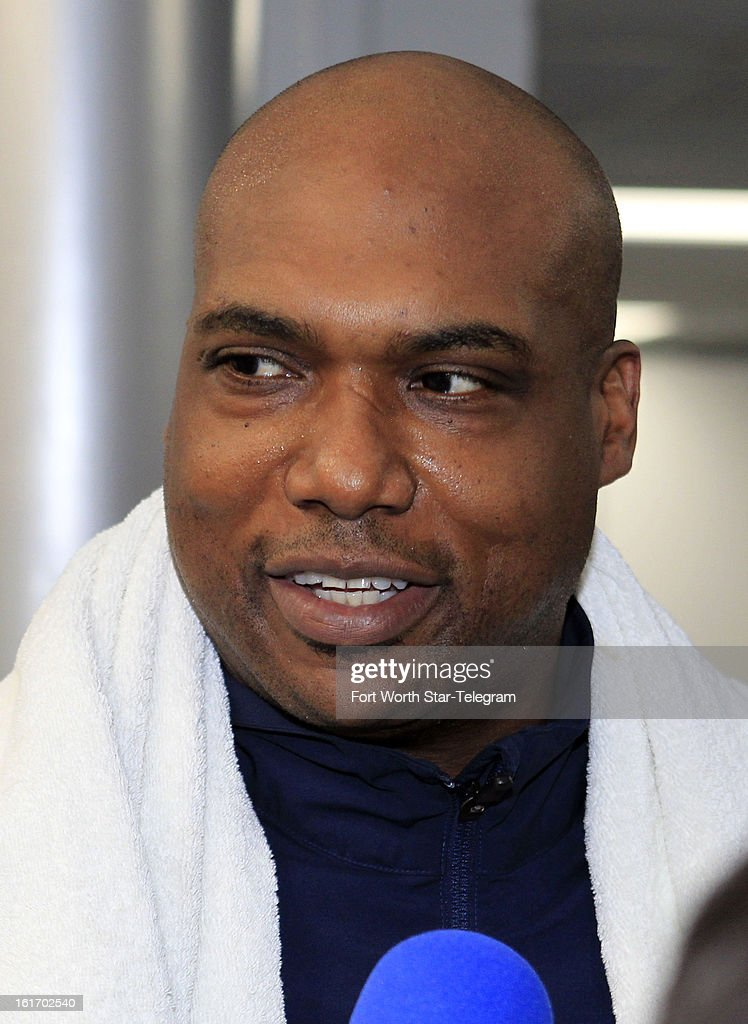 Dallas Cowboys defensive assistant/defensive line coach Leon Lett talks with the media during an introductory interview session of coaching staff members, Thursday, February 14, 2013 at Valley Ranch in Irving, Texas.