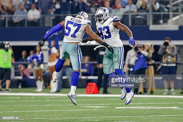 Dallas Cowboys Defensive End Benson Mayowa celebrates his sack with Linebacker Damien Wilson during the Monday Night Football game between the...