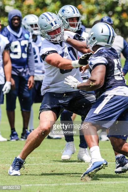 Dallas Cowboys guard Dan Skipper goes through workouts during the Dallas Cowboys OTA practice on May 31 2017 at The Star in Frisco Texas