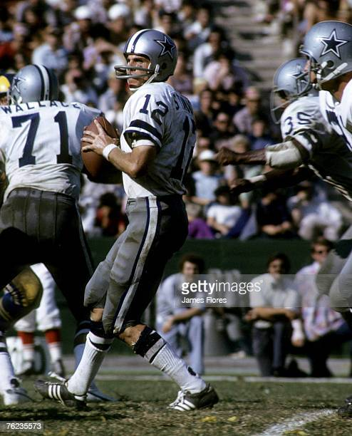 Dallas Cowboys Hall of Fame quarterback Roger Staubach looks to pass in a 3731 loss to the Los Angeles Rams on October 14 1973 at Los Angeles...
