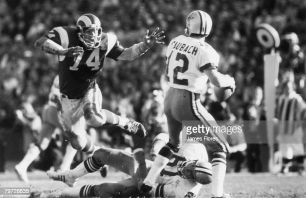 Dallas Cowboys Hall of Fame quarterback Roger Staubach looks to pass in a 136 win over the Los Angeles Rams on August 10 1974 at Los Angeles Memorial...