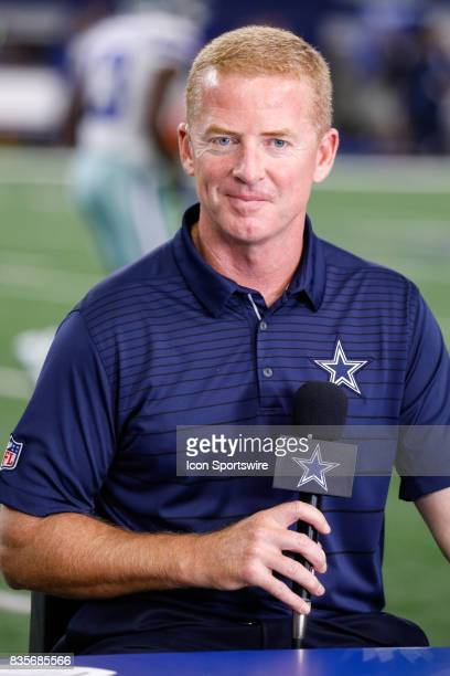 Dallas Cowboys head coach Jason Garrett is interviewed prior to the NFL preseason game between the Indianapolis Colts and Dallas Cowboys at ATT...