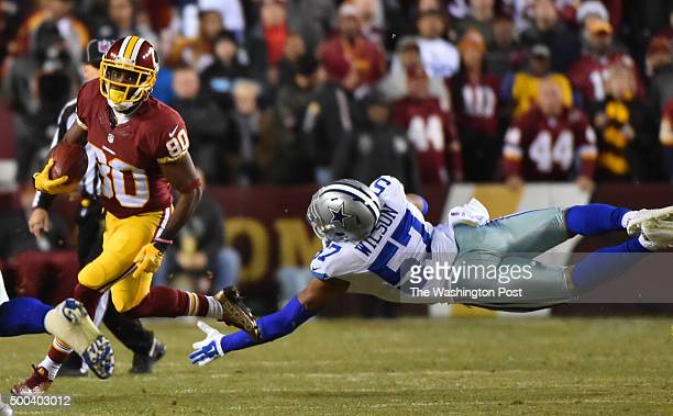 Dallas Cowboys inside linebacker Damien Wilson reaches for Washington Redskins wide receiver Jamison Crowder in the first quarter in a game between...
