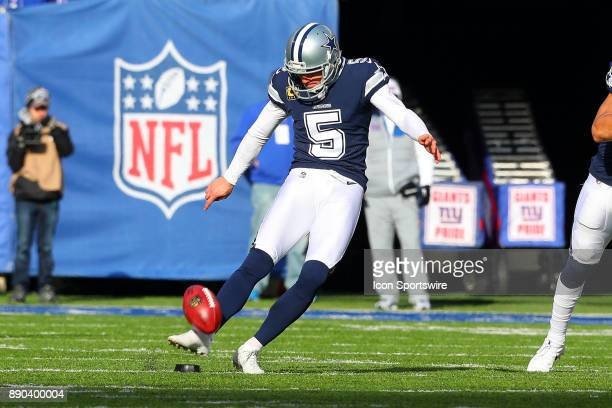 Dallas Cowboys kicker Dan Bailey kicks off during the National Football League game between the New York Giants and the Dallas Cowboys on December 10...