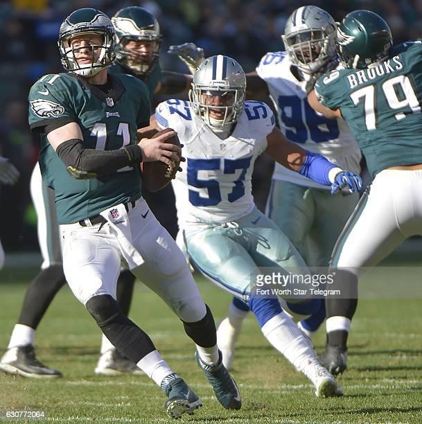 Dallas Cowboys linebacker Damien Wilson puts pressure on Philadelphia Eagles quarterback Carson Wentz during the second quarter at Lincoln Financial...