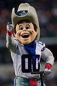 Dallas Cowboys mascot Rowdy entertains before the start of the game against the Houston Texans at ATT Stadium on October 5 2014 in Arlington Texas