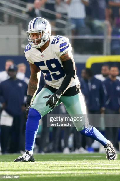 Dallas Cowboys middle linebacker Anthony Hitchens waits for the snap during the football game between the Green Bay Packers and Dallas Cowboys on...