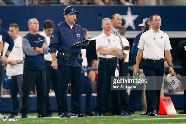 Dallas Cowboys Offensive Coordinator Scott Linehan calls out plays during the football game between the Green Bay Packers and Dallas Cowboys on...