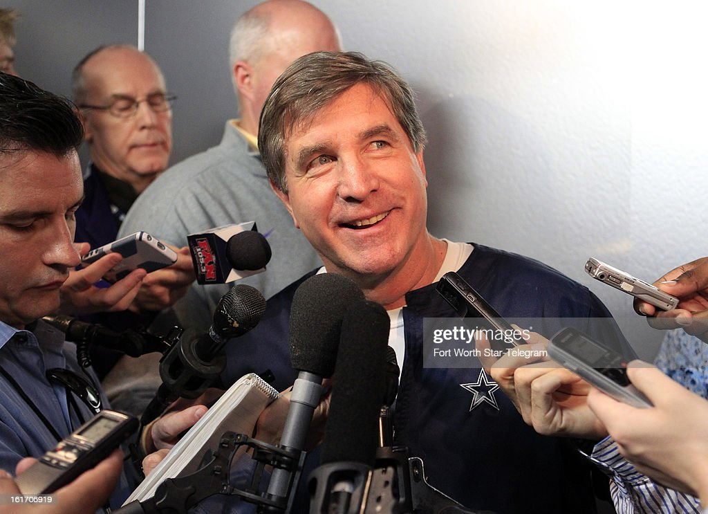 Dallas Cowboys offensive coordinator/offensive line coach Bill Callahan talks with the media during an introductory interview session of coaching staff members, Thursday, February 14, 2013 at Valley Ranch in Irving, Texas.