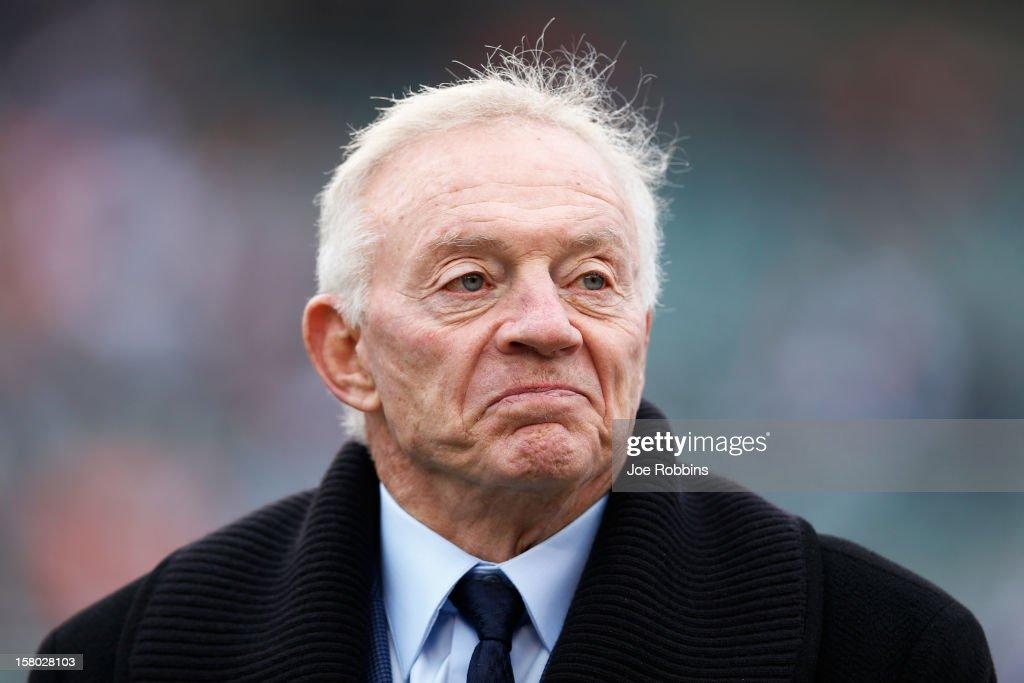 Dallas Cowboys owner Jerry Jones looks on before the game against the Cincinnati Bengals at Paul Brown Stadium on December 9, 2012 in Cincinnati, Ohio.