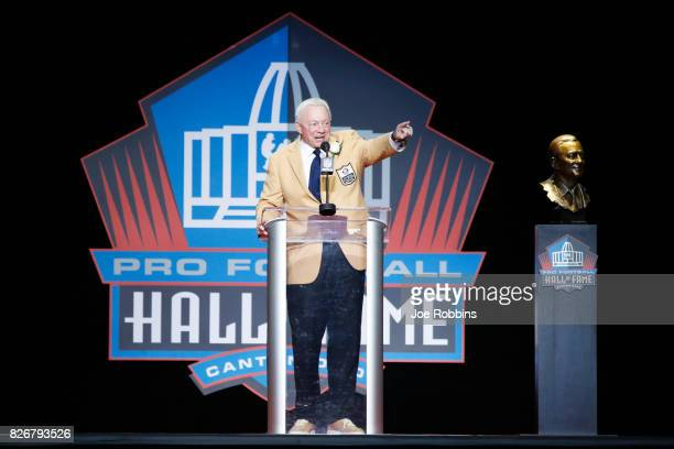 Dallas Cowboys owner Jerry Jones speaks during the Pro Football Hall of Fame Enshrinement Ceremony at Tom Benson Hall of Fame Stadium on August 5...