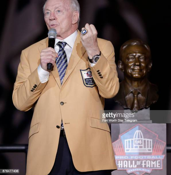 Dallas Cowboys owner Jerry Jones with his Hall of Fame bust and the ring he was presented at halftime on Sunday Nov 19 2017 at ATT Stadium in...